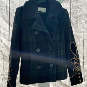 Denim & Supply Ralph Lauren green plaid pea coat L